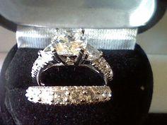PLATINUM & SS 3.25CTW LCS* DIAMOND WEDDING ENGAGEMENT RING SET SIZE 8 + GIFT! #Engagement