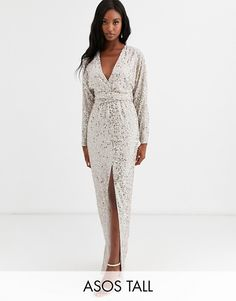 Find the best selection of ASOS DESIGN Tall maxi dress with batwing sleeve and wrap waist in scatter sequin. Shop today with free delivery and returns (Ts&Cs apply) with ASOS! Manga Del Batwing, Batwing Sleeve, Asos, Tall Dresses, Dresses With Sleeves, Midi Skater Dress, Going Out Dresses, Tall Women, Latest Dress