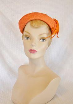 50s 60s Vintage Orange Cocktail Hat with by MyVintageHatShop