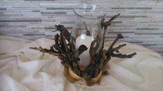 χειροποίητο κηροπήγιο με κλωνάρια από αμπέλι και ξύλο
