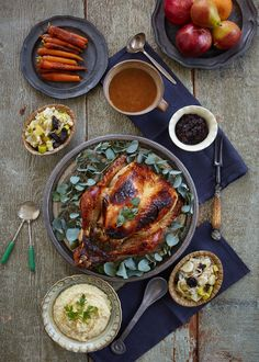 Succulent Roast Turkey Feast with Apricot and Almond Stuffing, Buttered Leeks with Prunes, Honey Glazed Carrots, Lima Bean Mash, Gravy, Orange and Cranberry Chutney and Spiced Pumpkin and Orange mousse with Whipped Coconut Cream.