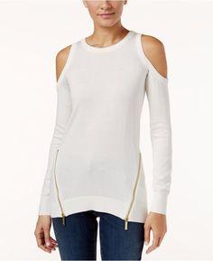 New Michael Kors Cold-Shoulder Sweater Zipper Detail Cream Size Medium