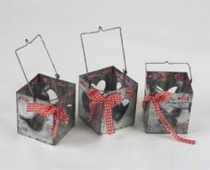 Heart Bird Butterfly Metal Hanging Box Tea Light Holders £5.50 each  3 Assorted T light holder decorated with gingham ribbon  Each holder has a cut out...