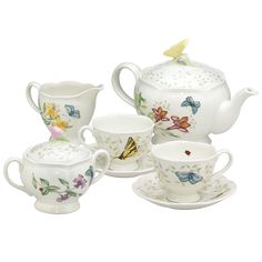 Embrace timeless traditions with this nine-piece butterfly tea set from Lenox that features a beautiful meadow-inspired design. The lovely pattern is sure to become a favorite for many afternoons of escaping from the hustle and bustle of everyday life.