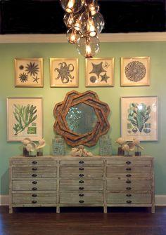 mirror, decor, credenzas, beach homes, idea, color, beach hous, coastal design, print