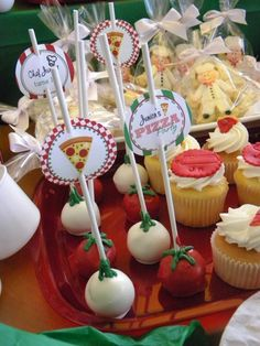 Pizza party cake pops and cupcakes Pronovost we would be able to make ร . - Pizza party cake pops and cupcakes Pronovost we would be able to make ร …, - Italian Themed Parties, Italian Party, Pizza Party Birthday, Birthday Parties, Birthday Ideas, Little Italy Party, Cake Pops, Kids Pizza Party, Chef Party