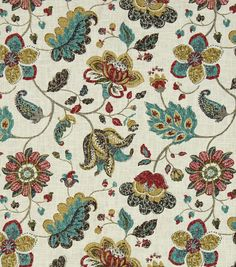 Beautiful hand drawn jacobean floral. Accented with color that gives depth and a new take on classic design elements. Content: 55% Linen, 45% Rayon Width: 55 Inches Fabric Type: Print Upholstery Grade