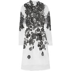 Erdem Effie embroidered silk-organza dress (£714) ❤ liked on Polyvore featuring dresses, white, loose fitting dresses, embroidered dress, loose dress, white slip and white loose dress