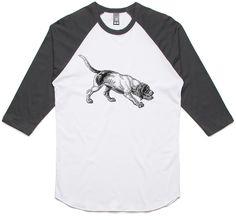 theIndie Sniffer Dog (Black) 3/4-Sleeve Raglan Baseball T-Shirt