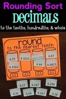 Rounding Decimals Sort!  Great game to practice rounding decimals to the nearest whole, nearest tenth, and nearest hundredth.  Includes 12 different versions! 5.NBT.A.4