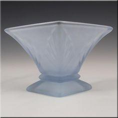 Bagley 1930's Art Deco Blue Glass 'Spinette' Vase #3180 - £34.99
