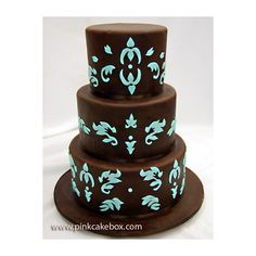 Brown and Turquoise Engagement Cake found on Polyvore