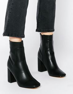 Truffle Collection Harp Square Toe Heeled Ankle Boots