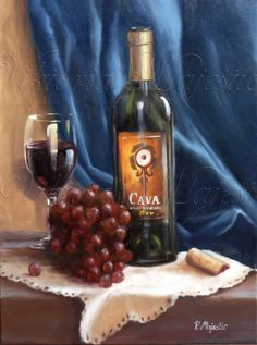 Wine and Grapes PRINT archival quality made by ViktoriaMajesticArt, $24.99