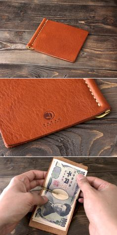 Leather money clip by Duram Factory. Leather Tooling Patterns, Leather Pattern, Leather Art, Leather Design, Handmade Leather Wallet, Leather Money Clip Wallet, Simple Wallet, Leather Projects, Small Leather Goods