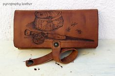 Unique Fly Fishing Leather Wallet Personalized  with Pyrography and Initials-hand made - pyrography leather - fishermen