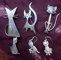 Beau Mexico Taxco Danecraft Lot of 5 PC Sterling Silver Jewelry Cat   eBay