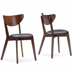 features: brand new, hardwood solids, dark walnut color dining chairs modern design with smooth and spindly tapered legs mid-century design available in both wooden & cushion back was: $159.00 clearance price: $59.00/each for more information call us at : 7808517549