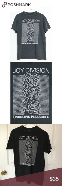 """Brandy Melville Joy Division Tee Oversized fit tee in washed black with JOY DIVISION graphic, purposely distressed detailing around the neck and sleeves. Distressing may vary. Fabrics: 100% cotton Measurements: 27"""" length, 20"""" bust Brandy Melville Tops Tees - Short Sleeve"""