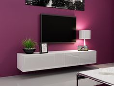 Seattle 21 - Modern TV wall unit with high gloss white MDF fronts Hanging Furniture, Living Room Furniture, Media Furniture, Wood Furniture, Tv Stand High Gloss, White Tv Unit, Black Gloss Tv Unit, Hanging Tv, Tv Stand Hanging
