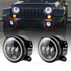 "4"" CREE LED Fog Light Halo Ring Angle Eyes For Jeep Wrangler JK Grand Cherokee…"