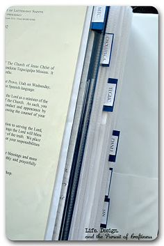 LDS Mission Book - pics / letters / etc organized behind tabs for areas served.