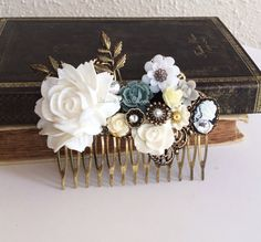 White Wedding Comb Bridal Hair Accessories Head Comb with accent of Gray, Black, Ivory Cream Leaves Rhinestone Pearl The Great Gatsby