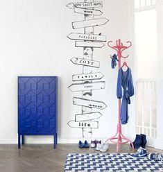 creative wall sticker blue cabinet hallway design ideas
