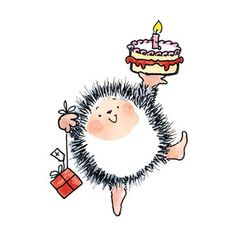 *Penny Black Rubber Stamp YOUR BIRTHDAY Hedgy Cake Candles 3974k
