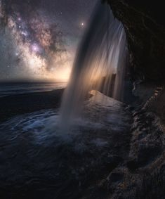 Dreamy Night Landscape Photos Inspired by Space, Stars, and Video Games Landscape Photos, Landscape Photography, Nature Photography, Travel Photography, Nature Pictures, Cool Pictures, Beautiful Pictures, Beautiful Waterfalls, Beautiful Landscapes