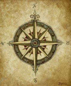 Love! Antique compass rose