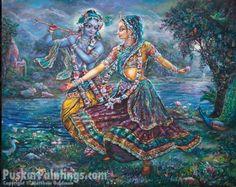 Radha & Krsna dancing. Painting by Pushkar das.