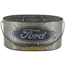 FORD AUTHORIZED DEALER Metal BUCKET with 6 Compartments Mustang Truck Sign Boss