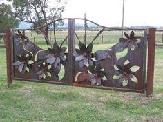 Gate, and garden art. So pretty!