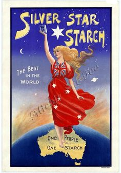 Silver Star Starch Advertising Poster, Instant Download, Trading Card, Postcard, Wall Art, Troedel & Co., Melbourne, Australia, ca. 1891