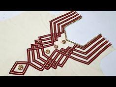 Simple Neck Convert To Stylish Neck By Lace/ Neck design - Pin Trends Chudi Neck Designs, Neck Designs For Suits, Neckline Designs, Dress Neck Designs, Blouse Designs, Salwar Kameez Neck Designs, Latest Salwar Kameez, Man Dress Design, Gold Flower Girl Dresses