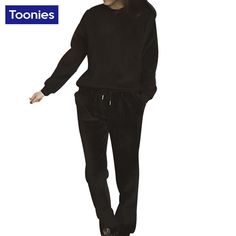 2 Piece Set Women Pullover Hoodies And Trousers Long Sleeve Korean Plus Velvet Autumn Winter Fashion Hot Selling Plus Size S-2XL