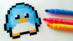 Handmade Pixel Art - How To Draw Kawaii Penguin #pixelart