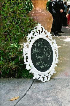 Beautiful frames for signs--use glass or mirrors instead of chalkboard