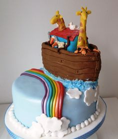 noahs ark boy christening cake - Google Search