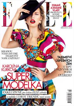 "billidollarbaby: "" Karolina Kurkova for Elle Magazine Czech March 2013 styled in Dolce and Gabbana Photographer: Branislav Simoncik Fashion Editor: Jan Kralicek Make-up: Katerina Brans "" Fashion Magazine Cover, Fashion Cover, Magazine Covers, Magazine Stand, Elle Magazine, Kitenge, Folk Fashion, High Fashion, Men Fashion"