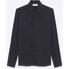 Saint Laurent Signature Yves Collar Shirt ($565) ❤ liked on Polyvore featuring men's fashion, men's clothing, men's shirts, men's casual shirts, tops, mens long sleeve shirts, mens long sleeve collared shirts, mens casual long sleeve shirts, yves saint laurent mens shirt and mens button front shirts