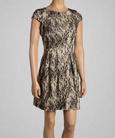 Take a look at this Sand & Black Lace Cap-Sleeve Dress by Gabby Skye on #zulily today! $45 !!
