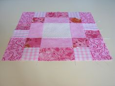 """A traditional block pattern called """"Antique Tile Block"""" pieced by Pam Wilson in July 2014, incorporating gingham and other fabrics from the stash of my aunt Johanna Wackerle Tanner."""