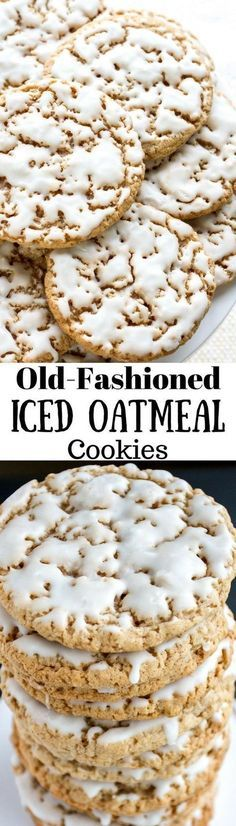 Old-Fashioned Iced Oatmeal Cookies ~ Soft in the middle and crispy on the edges, sweet, but not overly so, and the cinnamon and nutmeg really shine through. A really terrific cookie! (old fashioned christmas sweets) Crinkle Cookies, Cookies Soft, Yummy Cookies, Oatmeal Cookies, Yummy Treats, Cookies Et Biscuits, Sweet Treats, Cinnamon Cookies, Protein Cookies