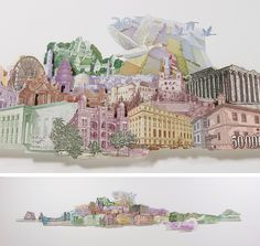 Rodrigo Torres takes various banknotes and creates art from them. Here his collage uses buildings that appear on various notes