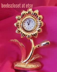 Flower minature clock wonderful gift for the collector