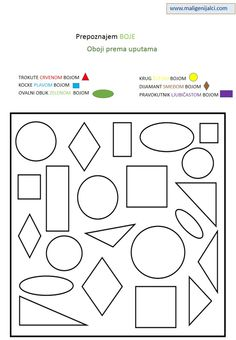 Teach kids colors and shapes with free printable shapes and colors worksheets from Kids Learning Station. Help kids learn colors and shapes with these free printable worksheets. Color Worksheets For Preschool, Preschool Colors, Shapes Worksheets, Teaching Colors, Preschool Education, Preschool Printables, Preschool Kindergarten, Number Activities, Printable Worksheets