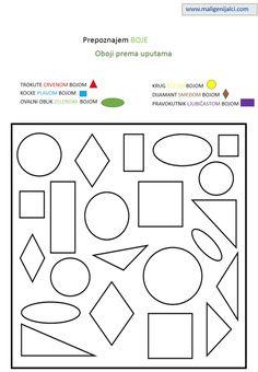 Zadaci s bojama: oboji prema uputama. Prvi dio.