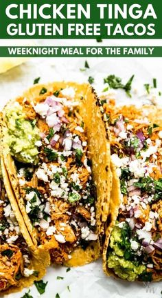 This recipe for chicken tinga tacos is a perfect quick and easy weeknight meal for the whole family. They are gluten free as they are made with corn tortillas and taste completely authentic. #glutenfree #tacos #chickentinga #movementmenu #healthyrecipes